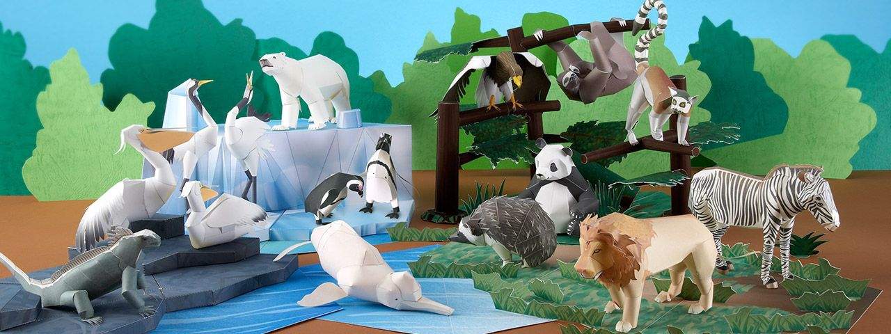 Paper crafts of rare animals which are disappearing from the earth..