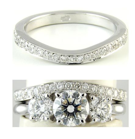 Wishbone wedding band to fit around trilogy diamond setting - this would be  so perfect with my ring 82795febeb01