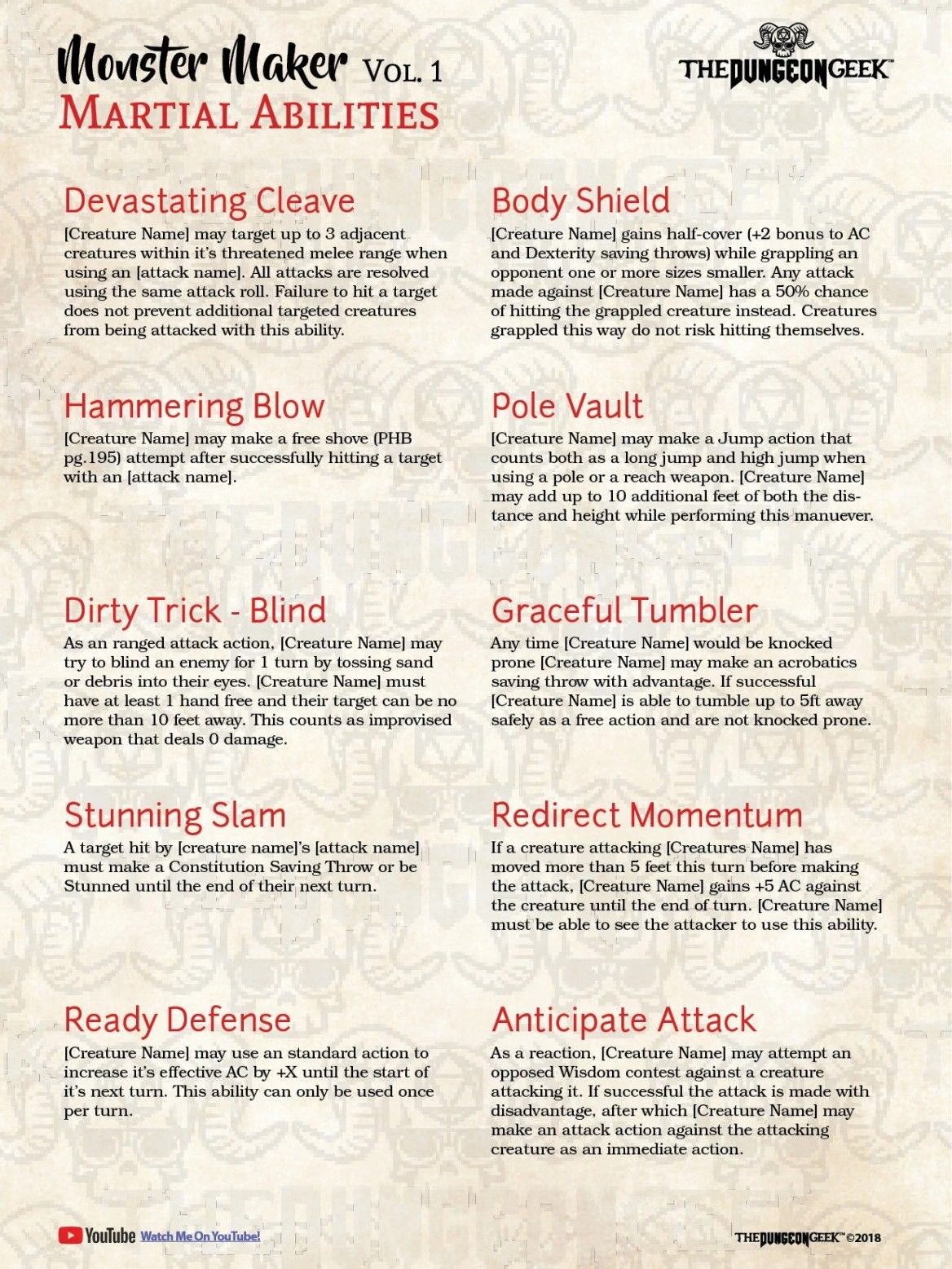 D&D 5E homebrew monster special abilities dm tips and tricks rules