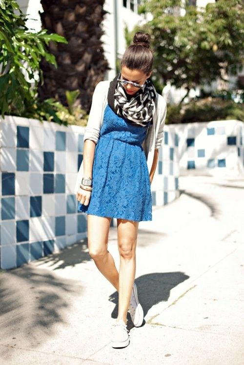 cool casual twist on the lace dress