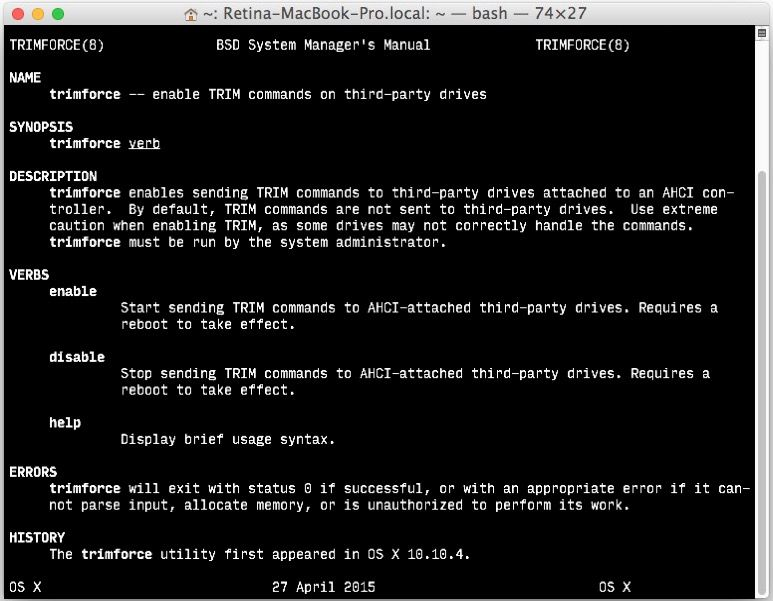 A Device Attached To The System Is Not Functioning Using Trimforce To Enable Trim On Ssd Volumes In Mac Os X  Mac Osx