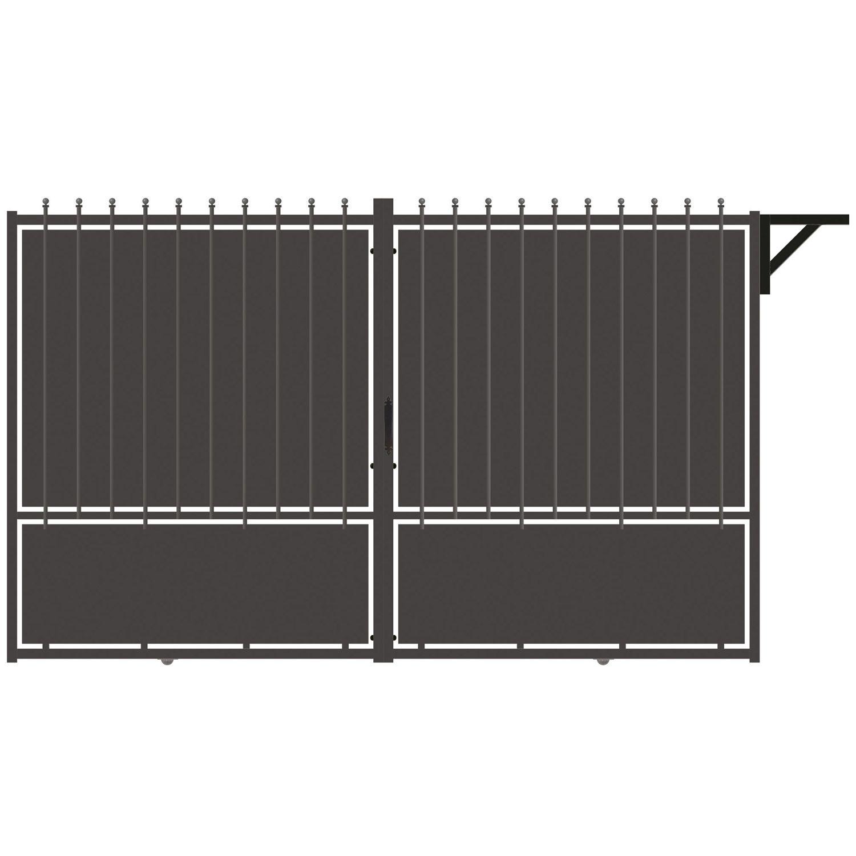 Portail aluminium coulissant Crête festonne, gris zingué, 185x300cm ...