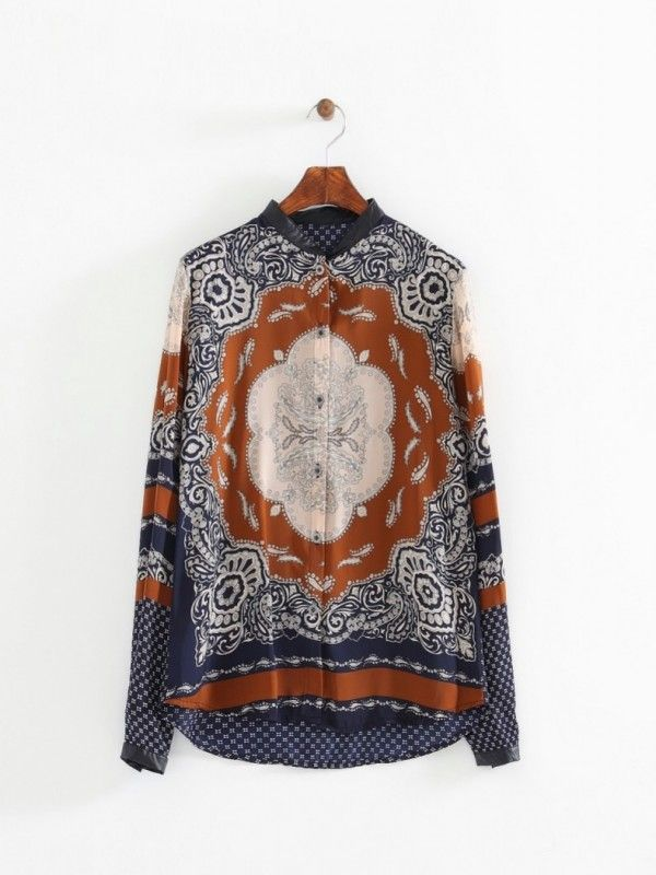 Scarf prints leather collar rayon blouse - Sistter.com