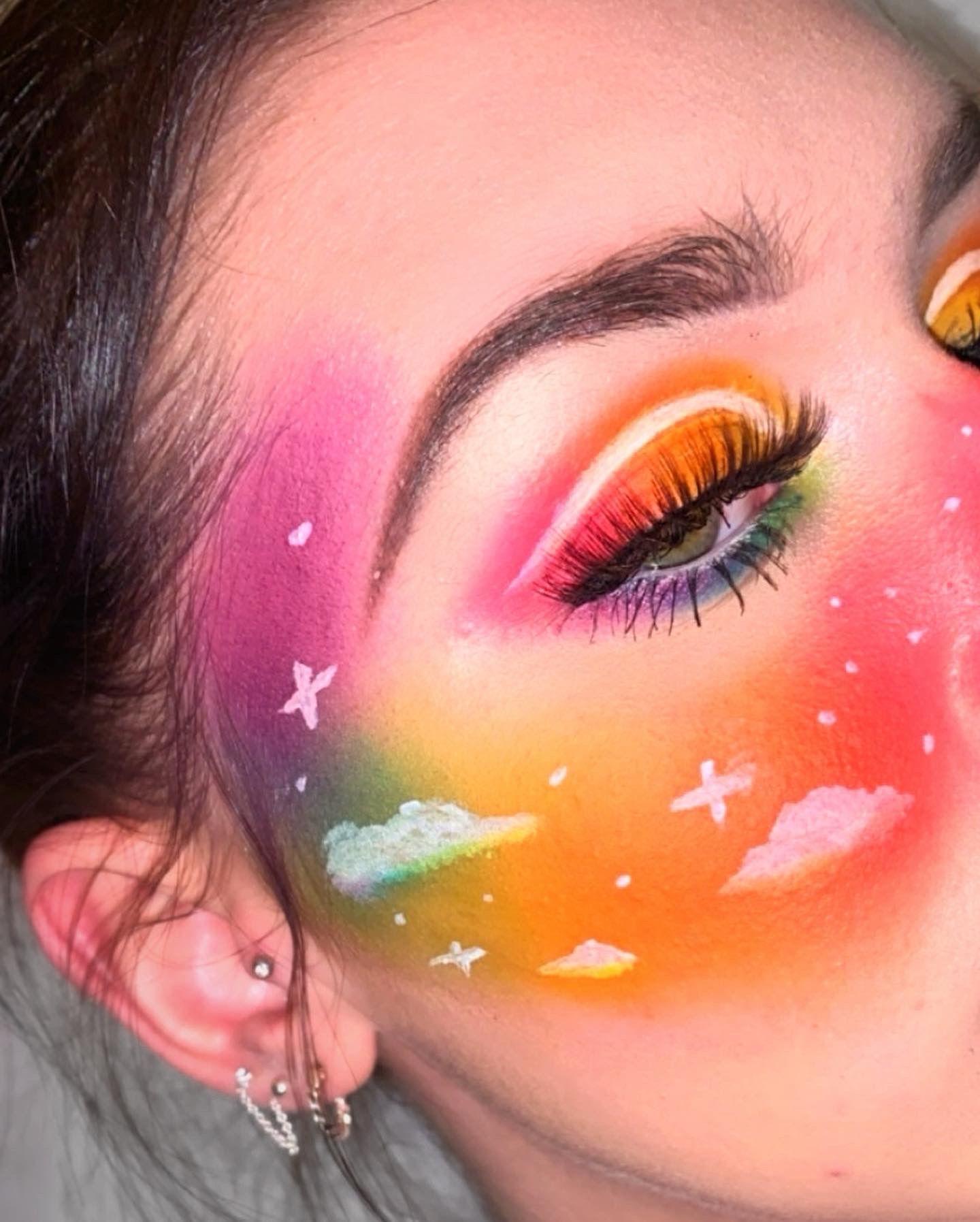 Rainbow Cloud Makeup In 2020 Butterfly Makeup Face Art Makeup Face Paint Makeup
