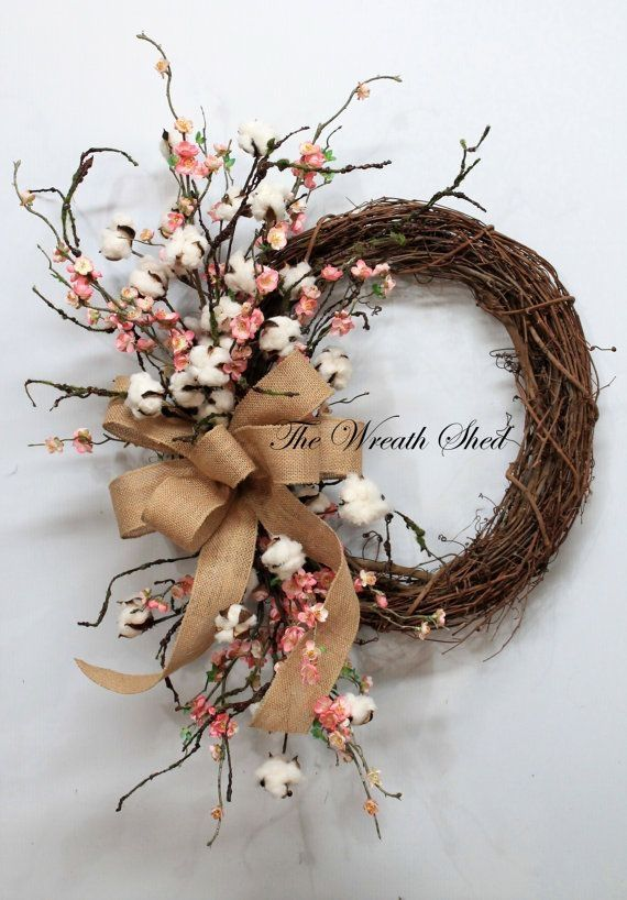 Blossom/Cotton Boll Wreath, Natural Cotton Bolls, Wedding Wreath, 2nd Anniversary Gift, Farmhouse Decor, Burlap Bow, Country Primitive Decor -   12 holiday Wreaths spring ideas