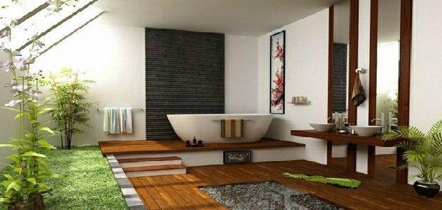 Japanese Style Bathroom Design using Wood Flooring and