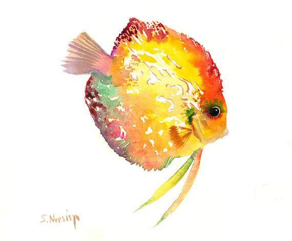 Discus Fish Painting, Colorful fish art, children art, kids wall art ...