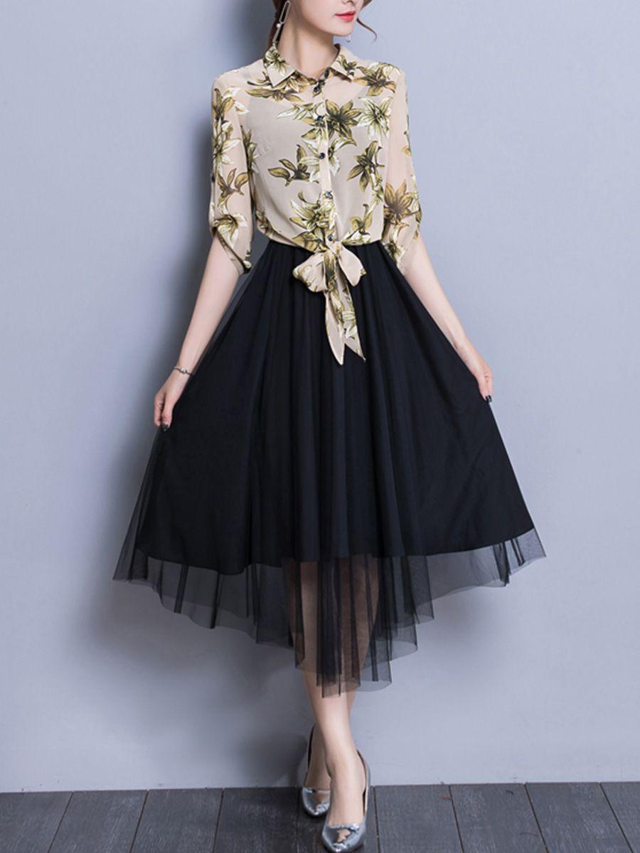 146eaee374 Turn Down Collar Printed Maxi Dress in 2019
