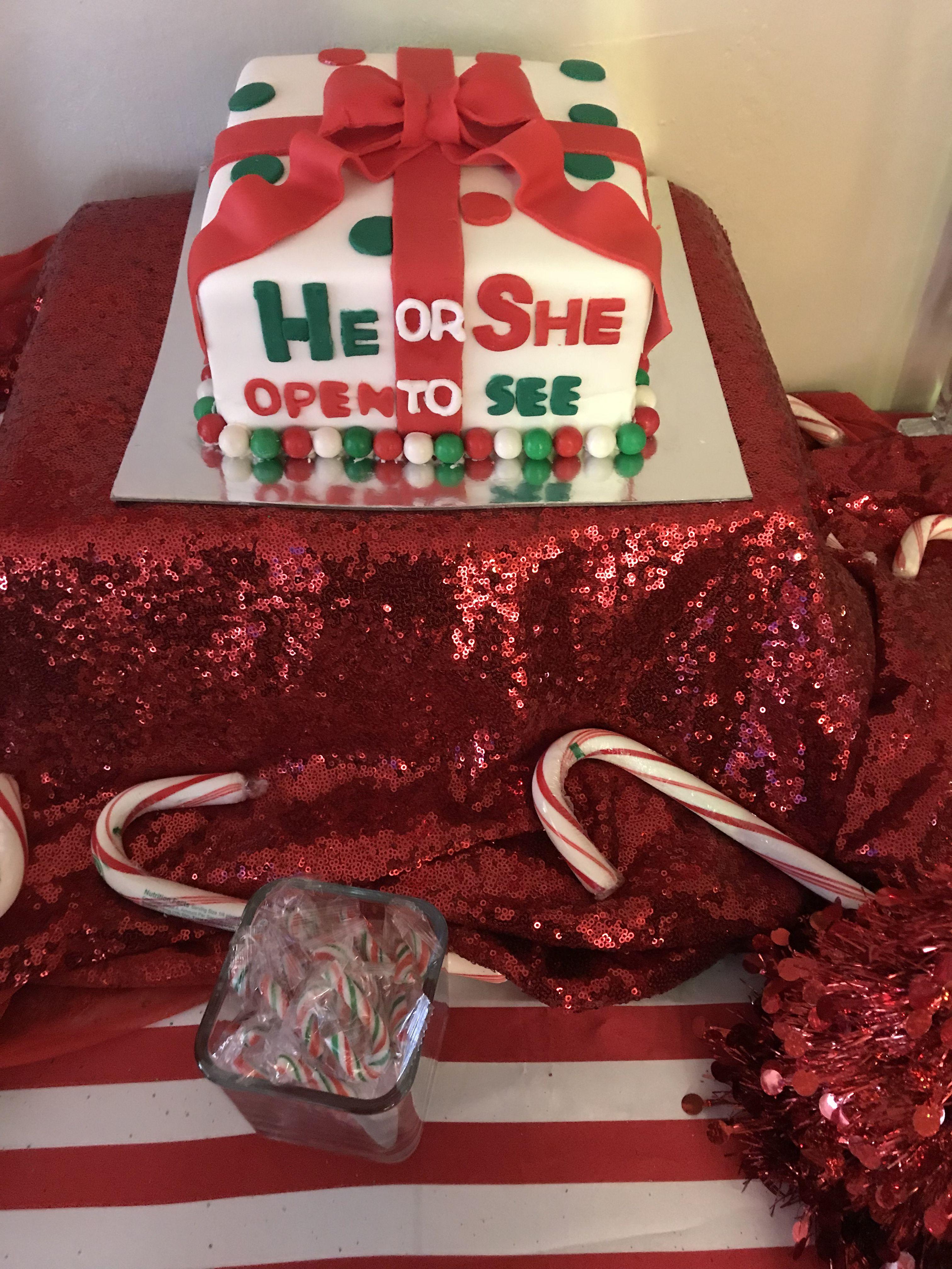 Christmas Gender Reveal Theme.Christmas Themed Gender Reveal Cake Gender Reveal Party