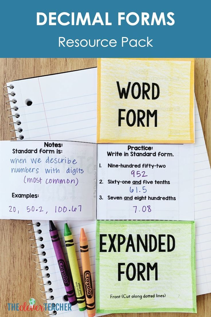 Decimal forms lesson plans task cards and quiz