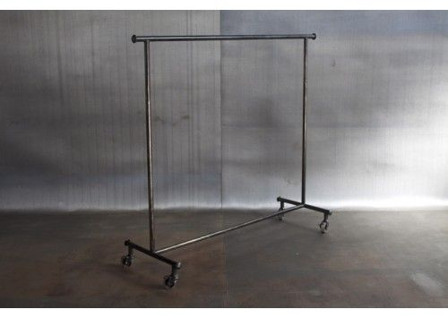 RECLAIMED STEEL ROLLING CLOTHING RACK