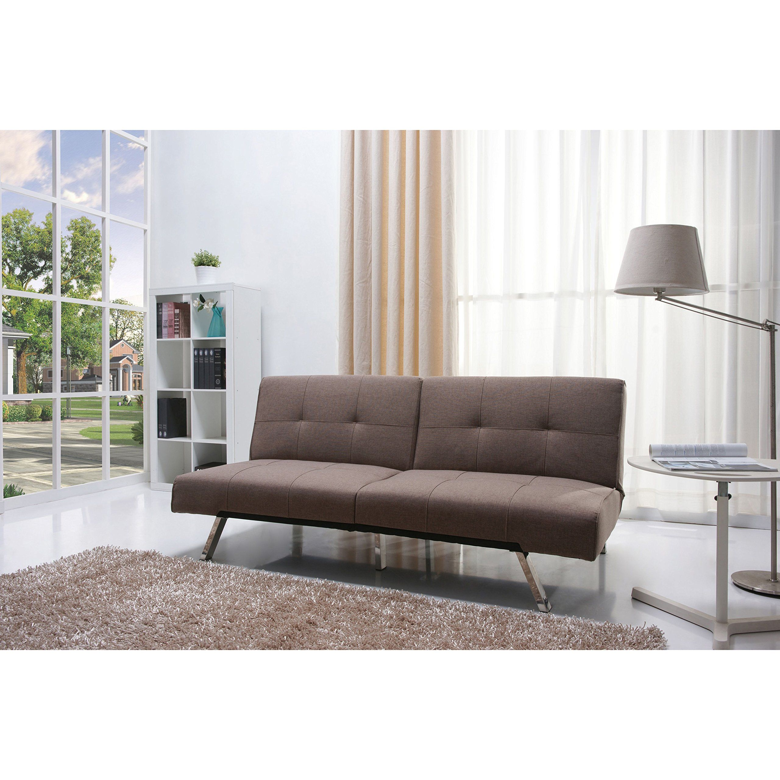 Contemporary Gray Fabric Convertable Futon Sofa Bed