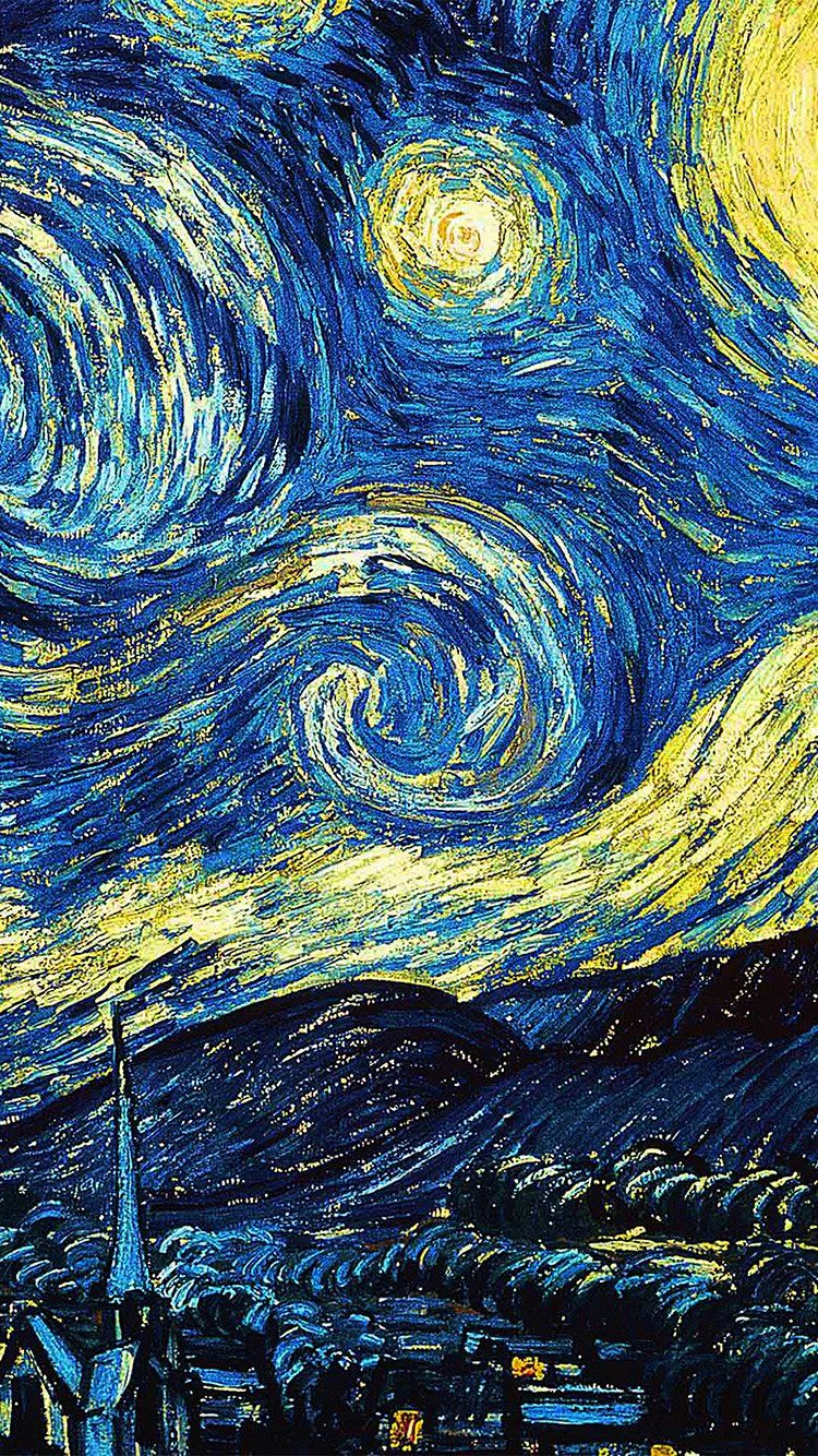 starry night, van gogh (1889) lockscreen Girassóis de