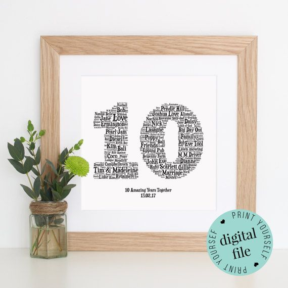 10th Anniversary Gift Word Art Printable Gift Framed Etsy 10th Anniversary Gifts Anniversary Gifts 10th Wedding Anniversary