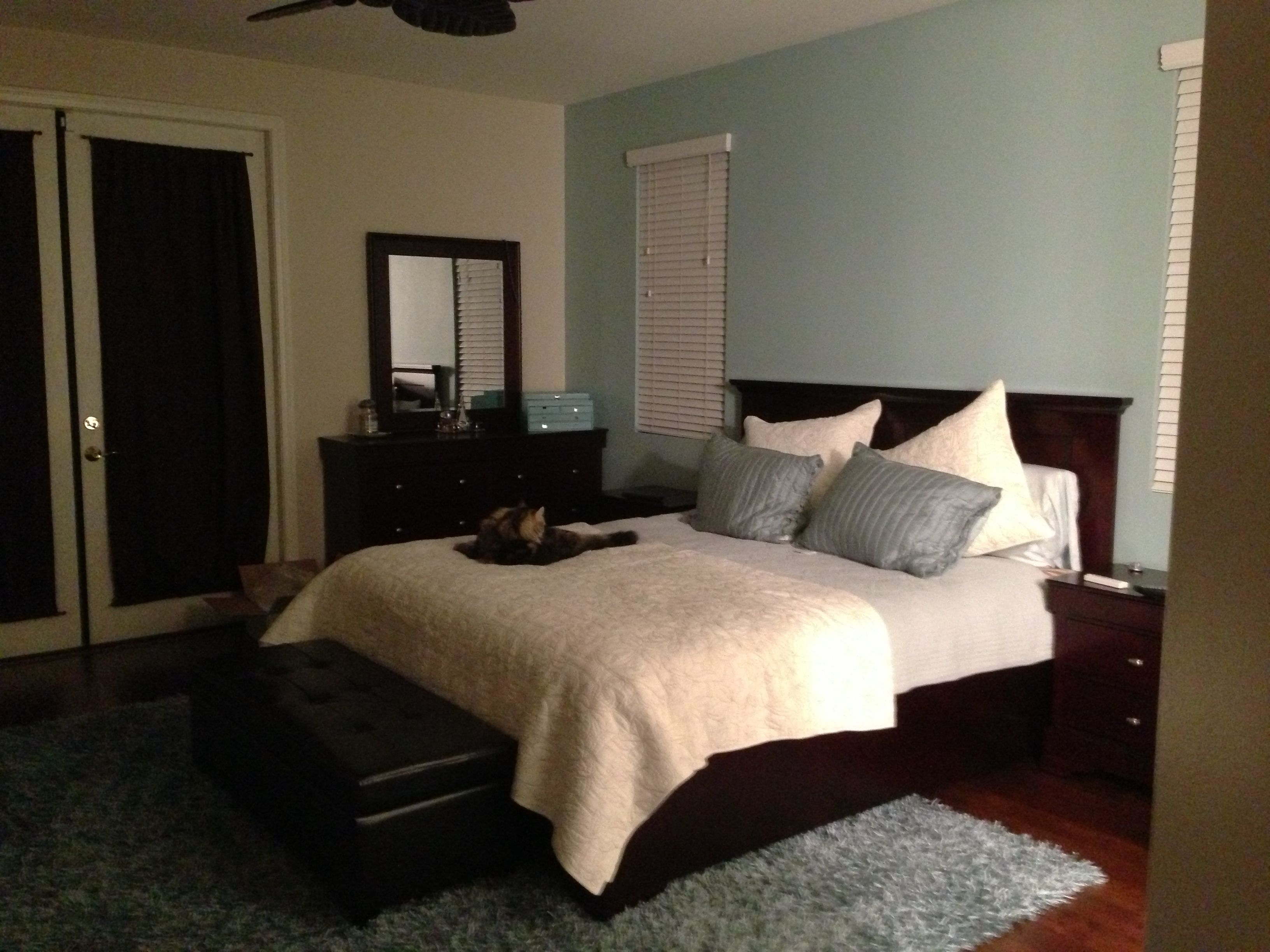Night Shot Of Master Bedroom Benjamin Moore Gossamer Blue And Behr High Style Beige Dark Espresso Furniture With Porcelain Sand Color Theme