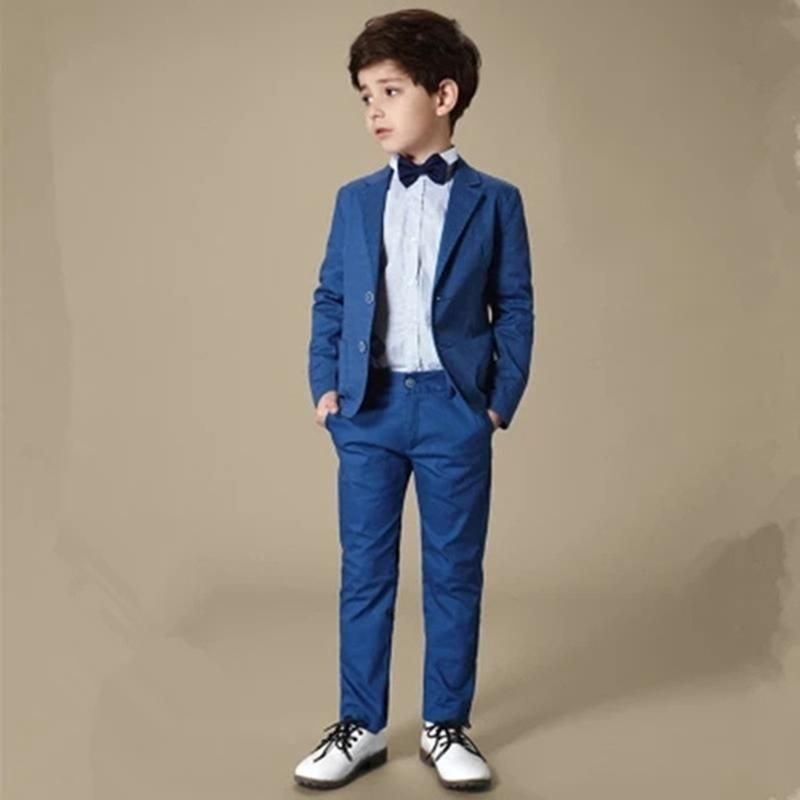 Royal Blue Flower Boy Wedding Suits Slim Formal Kids 3 Piece Suits Page boy Baby