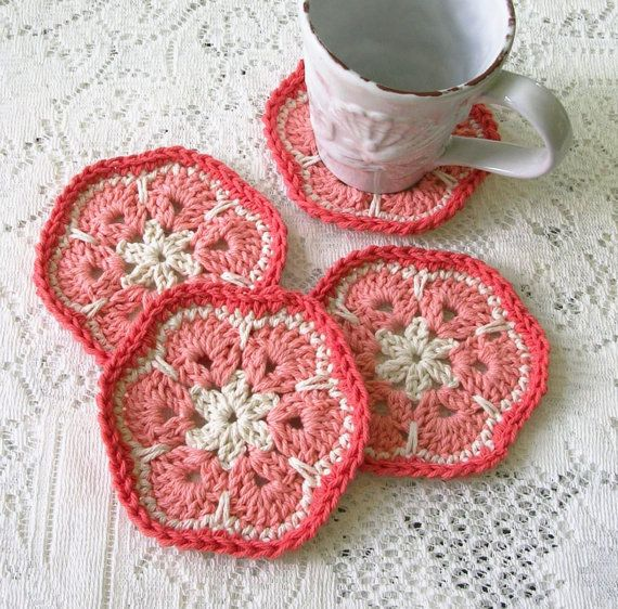 Crochet Coasters  Crochet Hexagon Flower by BernoullisAttic
