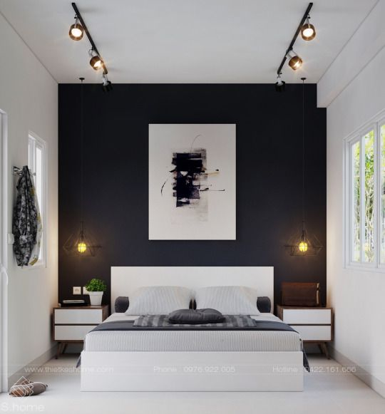 Black Accent Wall Black Walls Bedroom White Bedroom Decor White Bedroom Design
