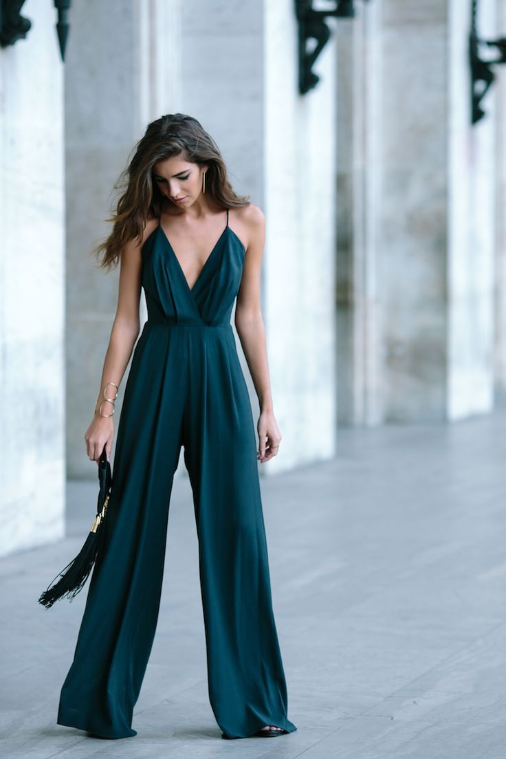 Teal Jumpsuit Fringe Bag Date Outfit Transitional Spring Outfit Guest Attire Winter Wedding Outfits Jumpsuit Dressy [ 1104 x 736 Pixel ]
