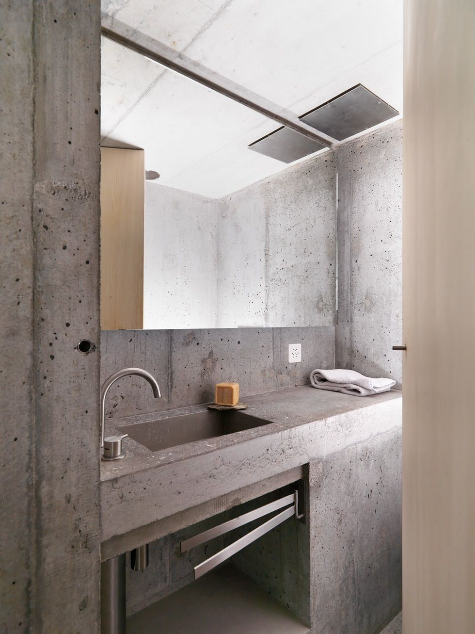 Modern bathroom inspiration bycocoon.com | raw concrete sink | bathroom  design products | inox
