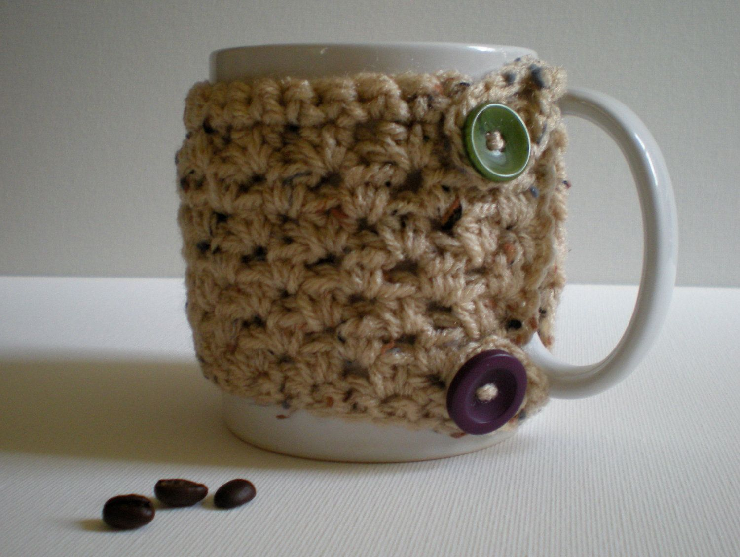 PATTERN- Oatmeal Mug Cozy, crochet, 2 buttons, oatmeal yarn, Teacher ...