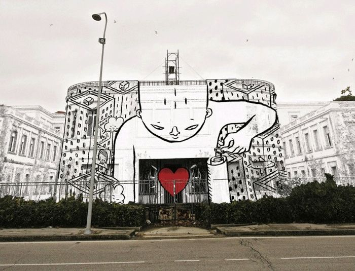 Awesome Drawing huge creatures on buildings of Italian city by Millo