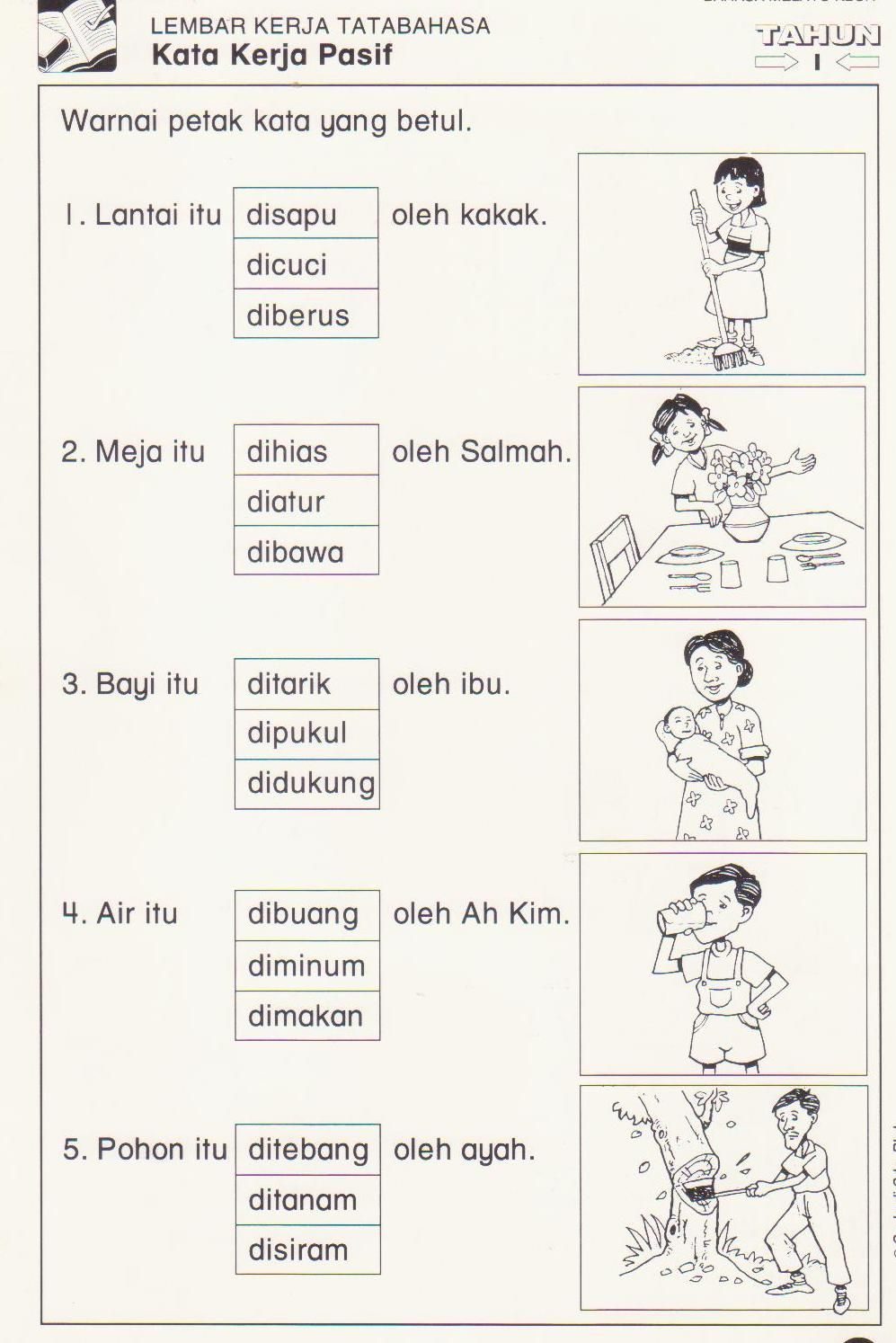 Kata Kerja Pemahaman Membaca Lembar Kerja Belajar Ejaan