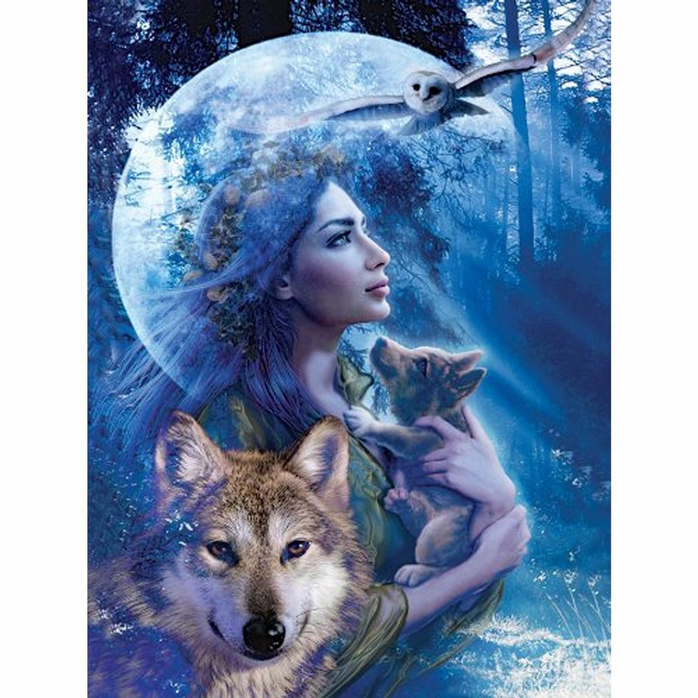 Puzzle Ravensburger 1000 Teile Wolfsfrau 279 Native American Art American Art Wolf Poster