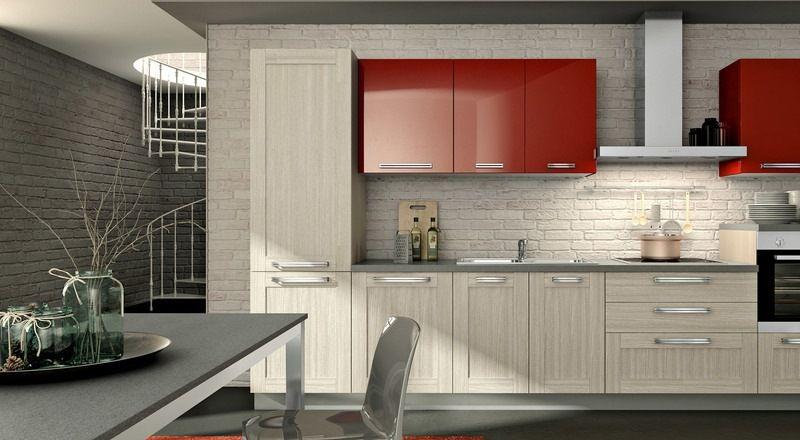 cuisine-rouge-grise-armoires-rouges-bois-beige-clair-table-chaise - Photo Cuisine Rouge Et Grise