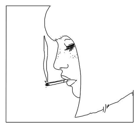 Dessin Paquet De Cigarette lignes コ portrait jeune femme fumant cigarette / dessin drawing