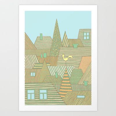 Rooftops Art Print by Anita Ivancenko - $16.00