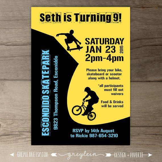 bmx party / skate park birthday party invitations / skateboard, Party invitations