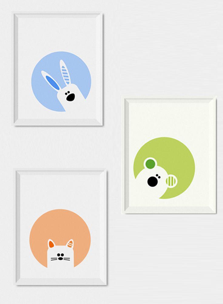 Modern nursery decor, Set of 3 nursery wall art prints ...
