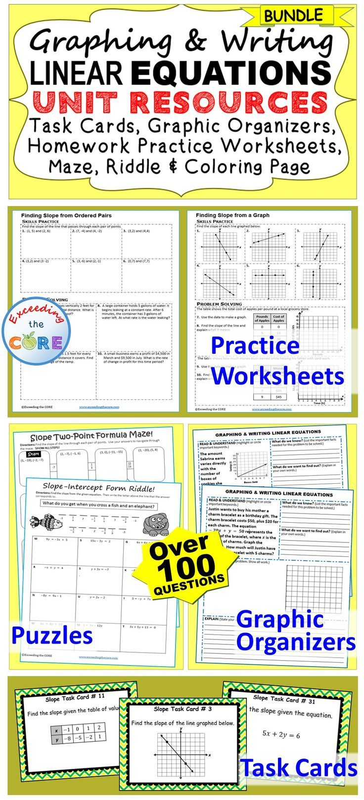 worksheet Linear Equations Puzzle Worksheet graphing writing linear equations slope bundle graphic bundle