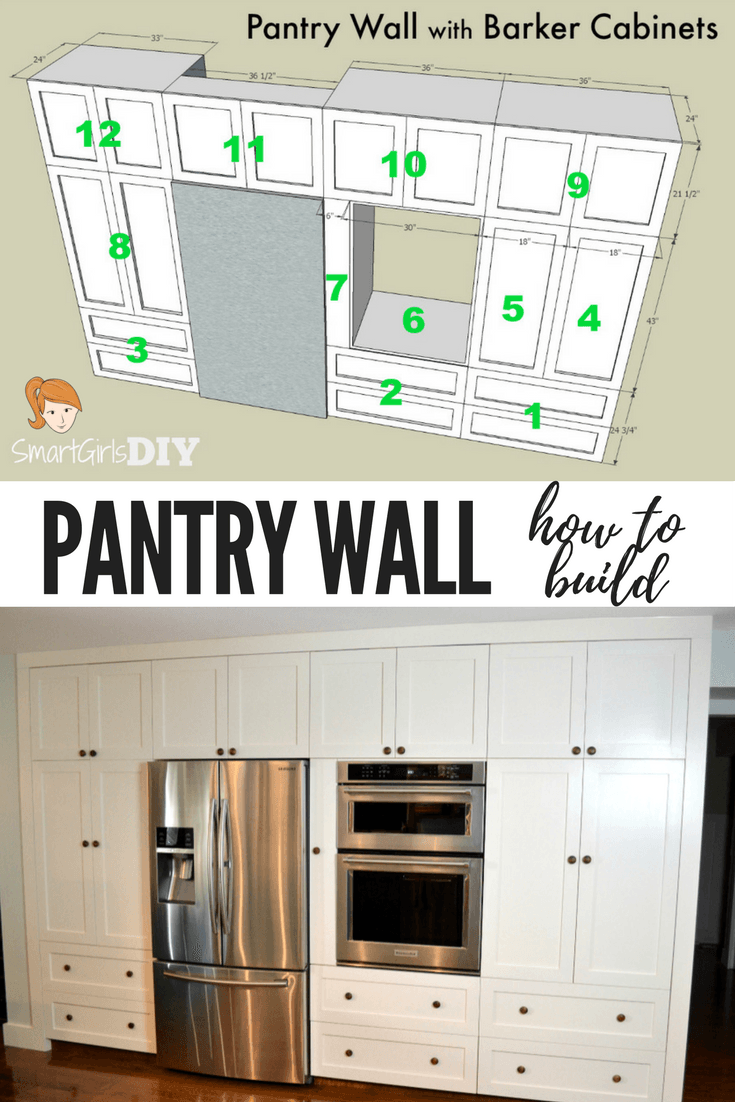 Let Me Show You How I Made A Show Stopping Pantry Wall Using 12 Barker Cabinets Barker Cabinets Are Rta Re Pantry Wall Built In Pantry Diy Kitchen Renovation