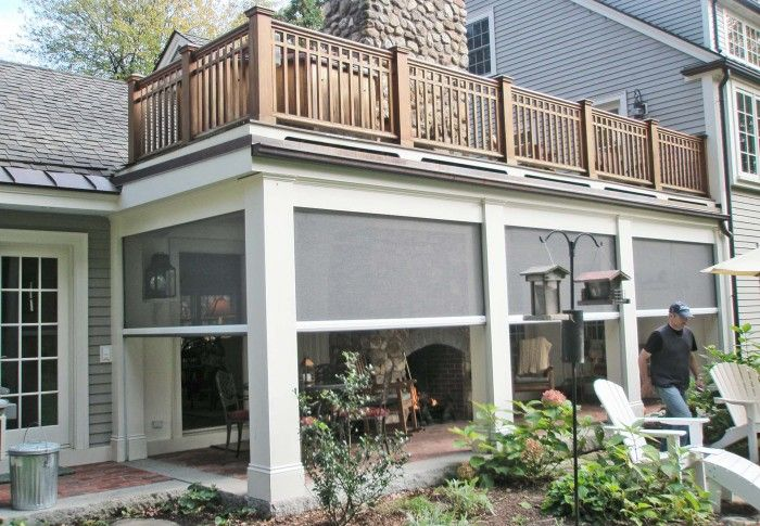 Motorized Retractable Screens Phantom Screens Traditional Porch New England Farmhouse Screened In Patio