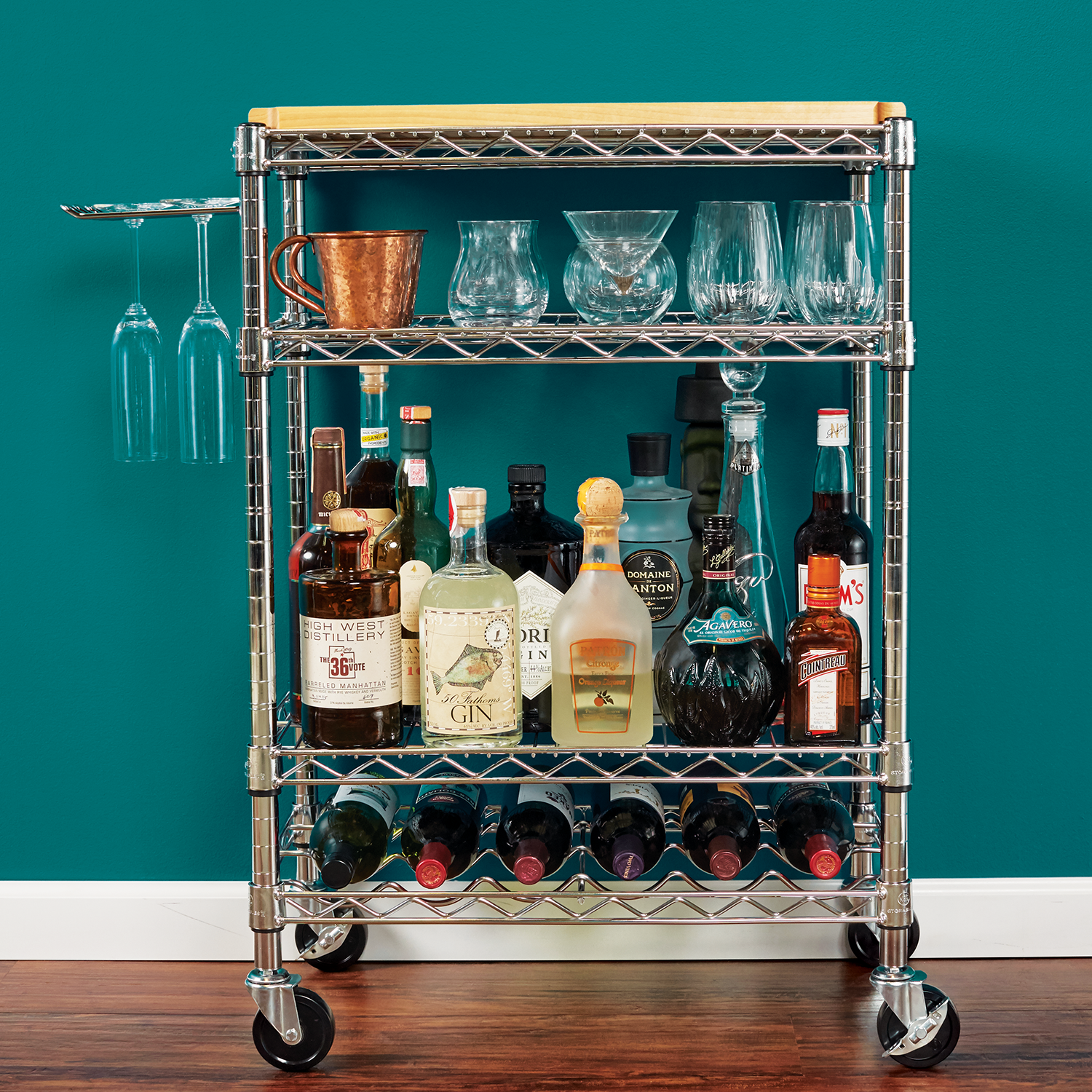 Bottoms up! Our Chrome IP Shelving beautifully constructed into a ...