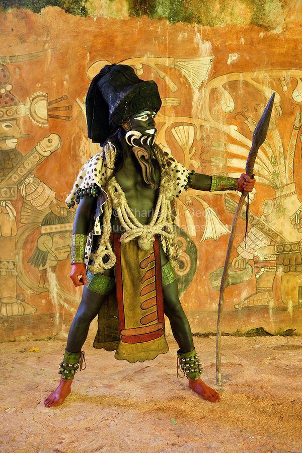 Mayan Dancer Representing  Ek Chuah, God of Cacao.  Xcaret, Riviera Maya…