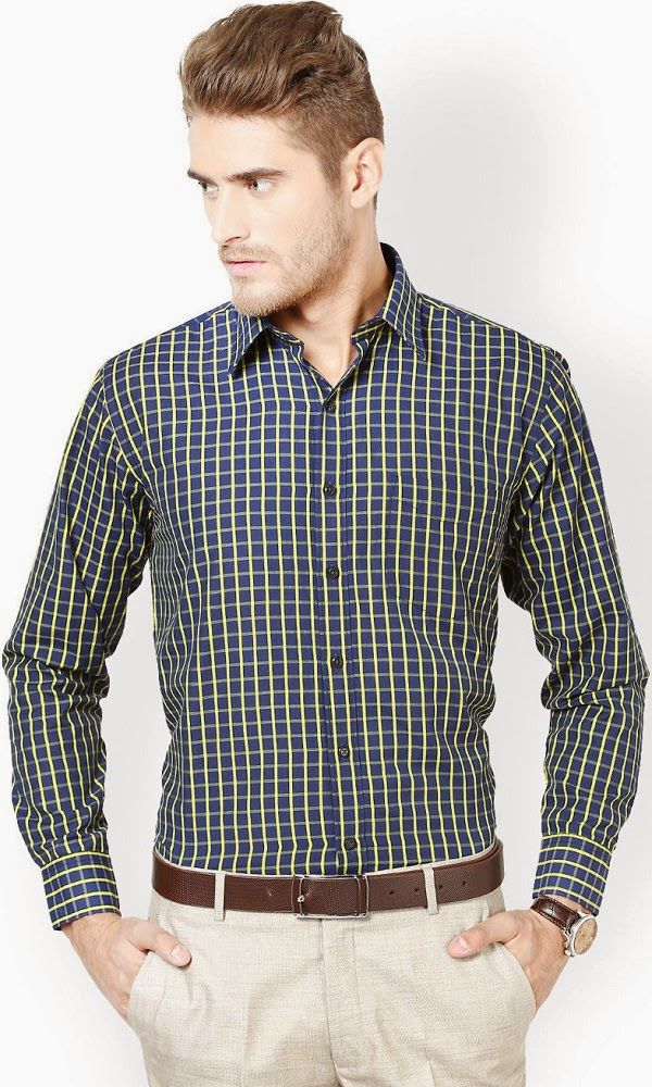 0aac747c2 Richlook navy blue and yellow coloured checked shirt #FormalForMen #Formal  #RichLook