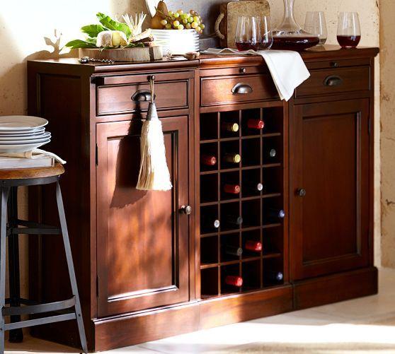 Modular Bar Buffet 2 Cabinet Bases 1 Wine Grid Base With Mahogany 849 Pottery Barn Home Bar Furniture Bar Furniture Bar Furniture For Sale