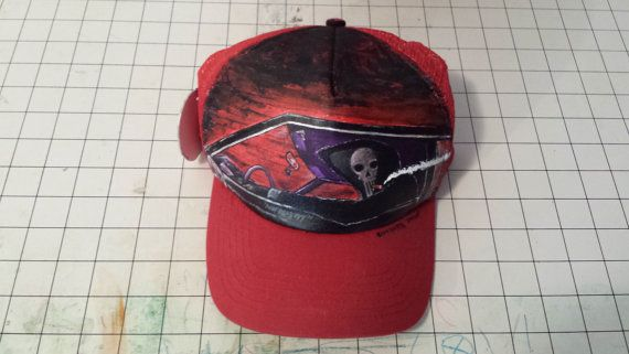 Hand painted trucker snapback Not Dead Yet by SUMMERPROOFDESIGNS, $70.00