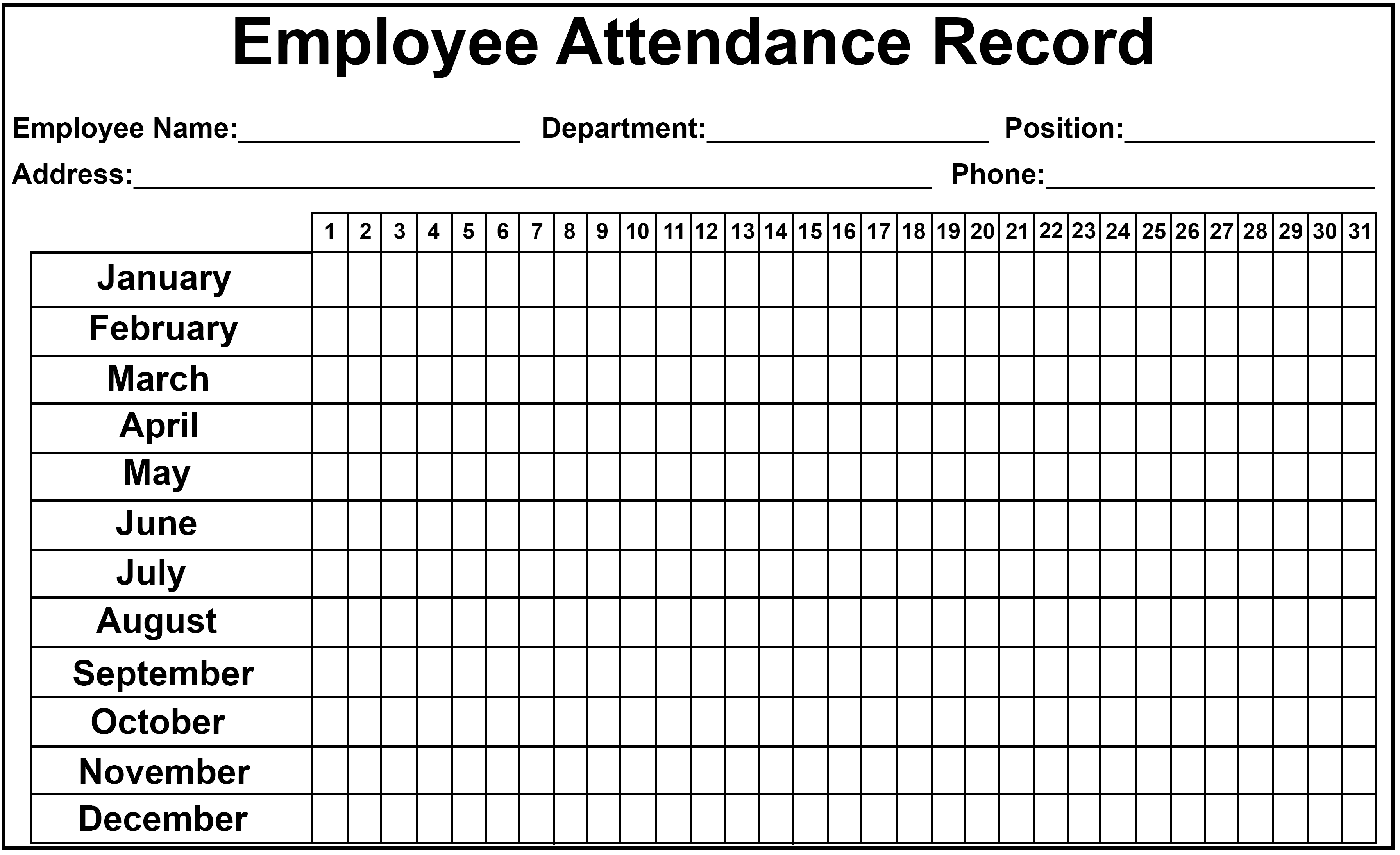 Employee Attendance Tracker Sheet With Images