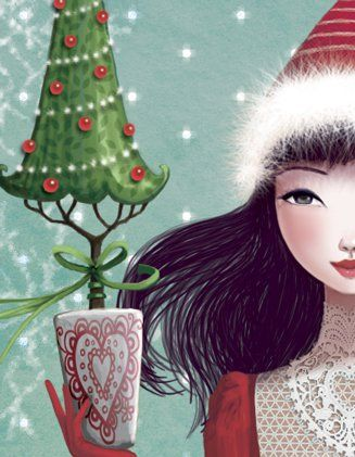 Il·lustració de Mila Marquis     Pinzellades al món: Arbres de Nadal il·lustrats / Árboles de Navidad ilustrados / Tree Christmas illustrated