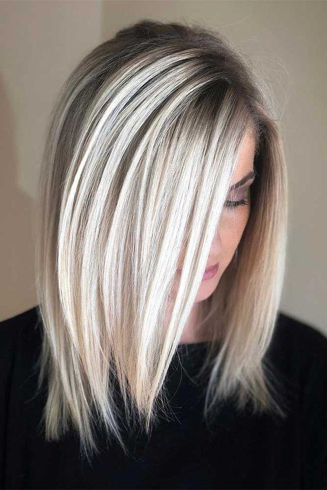 Platinum Blonde Bob Dark Roots Hair Styles Long Bob