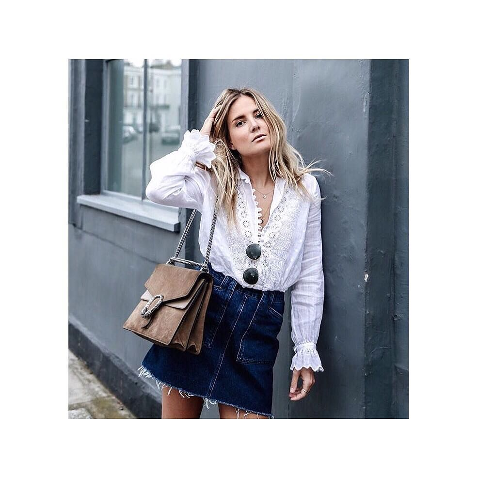 The lovely @lucywilliams02 mixing her Gucci bag with her new @ghostfashion broderie anglaise blouse  #Ghost #GhostLondon #FashionMeNow #broderieanglaise by vargltd