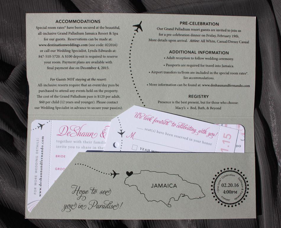 Pink & Gray Swirls, Airplanes & Jamaica Map Airline Ticket Wedding ...