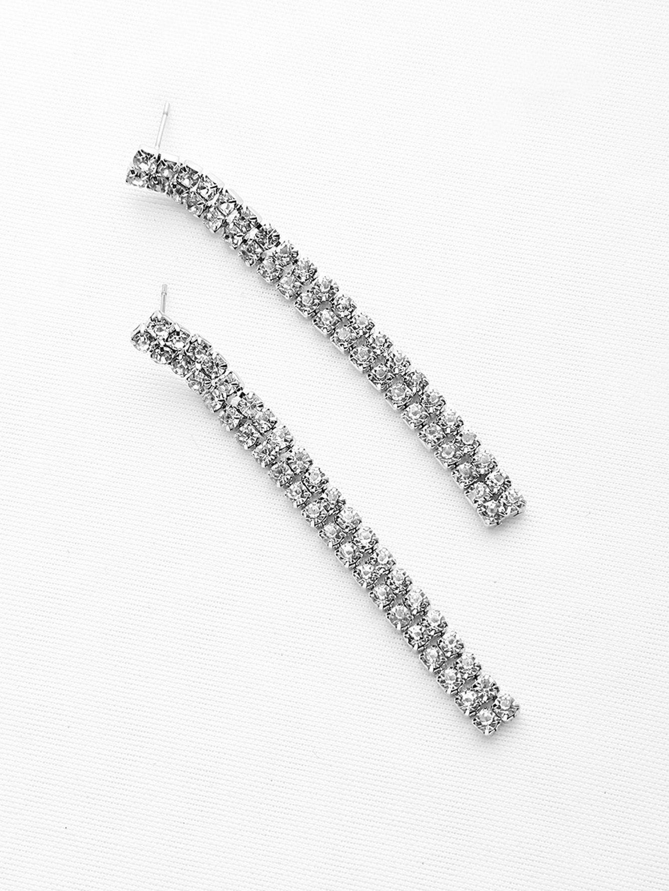 Pendientes de gota de barra de diamantes-(Sheinside)