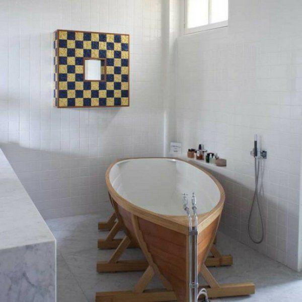 Small Bathroom Space Saving Ideas Part - 21: Small Bathroom Design Freestanding Bathtub Boat Shape Space Saving Ideas