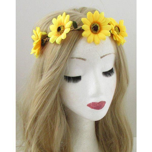 Yellow Sunflower Flower Headband Hair Crown Festival Garland Elastic... ($5.45) ...  Yellow Sunflower Flower Headband Hair Crown Festival Garland Elastic… ($5.45) …  Yellow Sunflow #crown #elastic #Festival #Flower #Garland #hair #Headband #Sunflower #Yellow