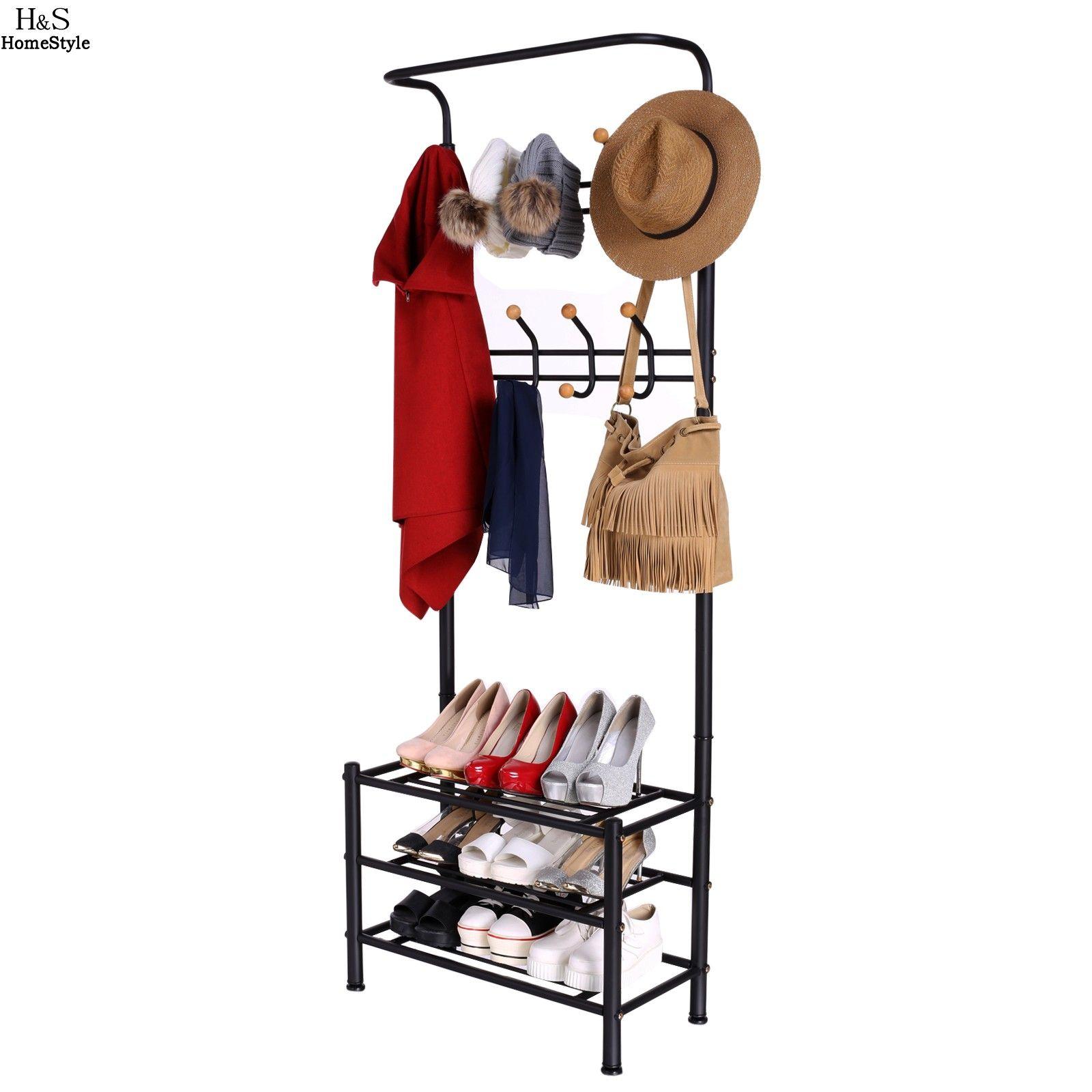 Hallway key storage  Homdox  Tiers Garment Hat Coat Hanger Metal Clothes Rack Shoe Shelf